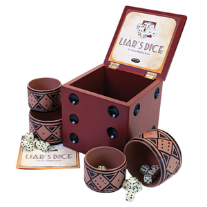 Classic Mahogany Finish Liar's Dice Bluffing Game