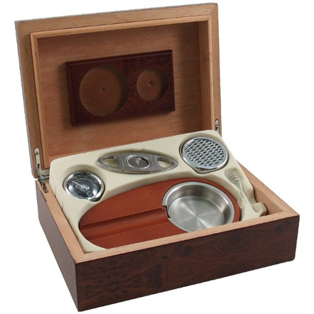 6 Piece Dark Burl Cigar Humidor Gift Set, 15 Cigar Capacity