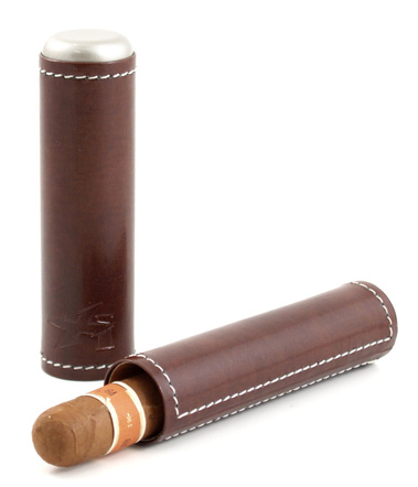 Xikar Envoy Cognac Brown Leather Single Cigar Tube Case