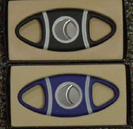 Blue Rubber Grip Double Blade Cigar Cutter 029441023775 8177 blue
