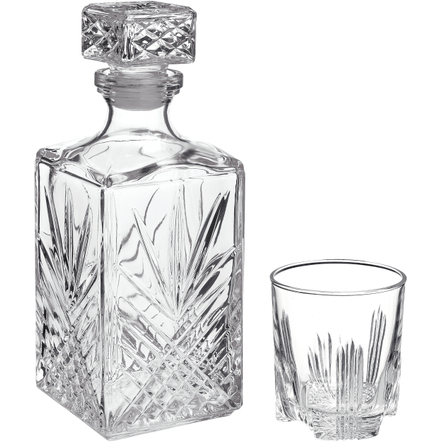 Bormioli Rocco Selecta 7 Piece Crystal Cut Glass Liquor Decanter and Rocks Tumbler Set