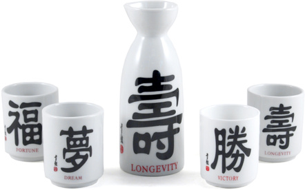Japanese Black and White Porcelain 5 Piece Words Sake Set