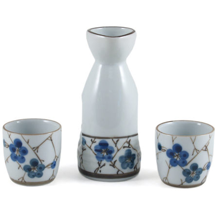 Japanese Blue Floral Porcelain 3 Piece Sake Set