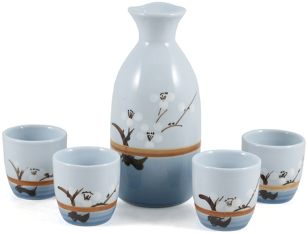 Sake 5 Piece Blue Floral Ceramic Wine Set