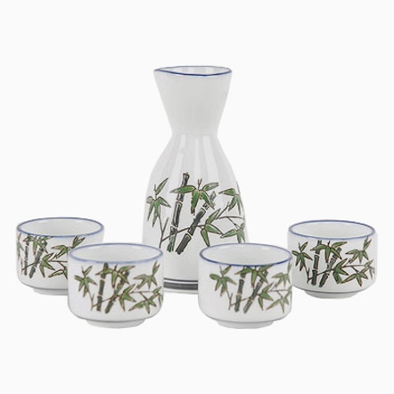 Bamboo Porcelain 5 Piece Japanese Wine Sake Set