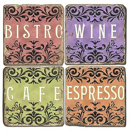 European Cafe Tumbled Marble Coaster, Set of 4