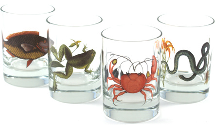Lunt Silversmiths Marine Animals Rock Whiskey Glass, Set of 4