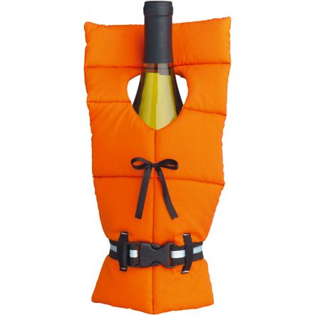 Boston Warehouse Orange Polyester Life Preserver Bottle Cover