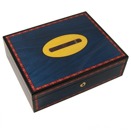 Havana Blue Cigars Humidor with Cigar Inlay Design