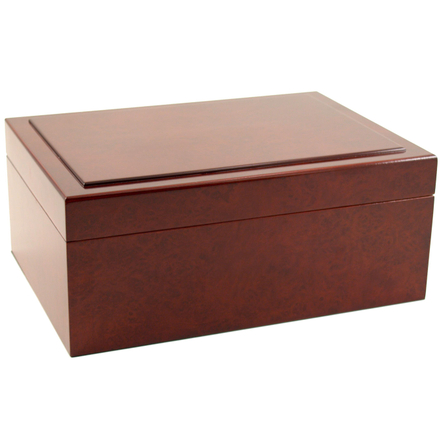 Rich Burl Large Cigar Humidor with Hygrometer and Humidifier