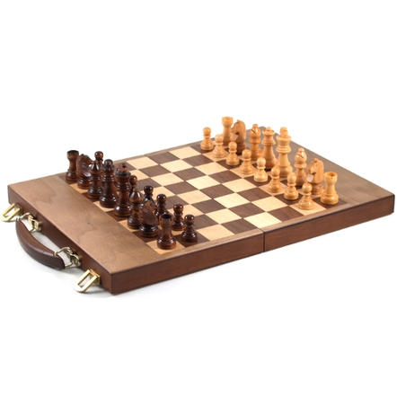 Gatogi Wooden 3-in-1 Chess, Checkers and Backgammon Attache Case Game Set