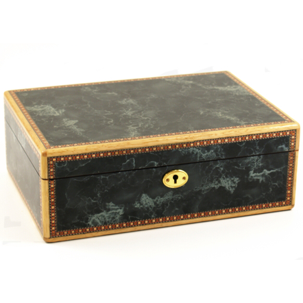 Black Marble Inlay Design Hi-gloss Cigar Humidor