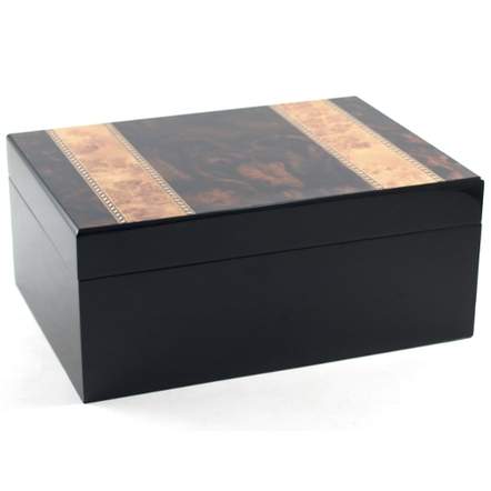 Presidential #2 Burl Inlay Cigar Humidor with Mirrior Finish 50Ct