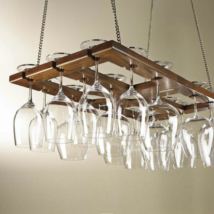 Wine Enthusiast Hanging Mahogany Stained Oak Wine Glass Rack