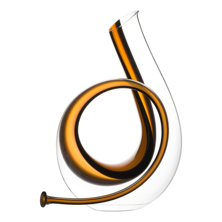 Riedel Yellow and Black Leaded Crystal Horn Decanter, 84.5 Ounce