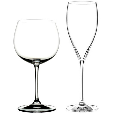 Riedel Vinum XL 4 Piece Leaded Crystal Oaked Chardonnay and Champagne Glass Set