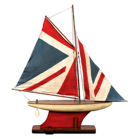 Authentic Models Union Jack Pond Yacht Wooden Model on Stand
