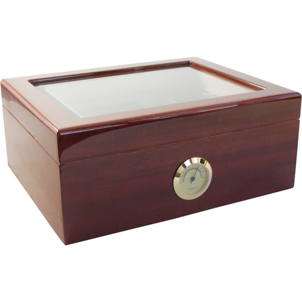Savoy by Ashton Medium Glass Top Mahogany Humidor, 50 Cigar Capacity