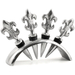 Fleur De Lis Wine Stopper Corks with Rack, Set of 4