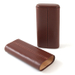 Light Brown Leather 3 Finger Hard Cigar Case