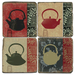 Japanese Tetsubins Tumbled Marble Coaster, Set of 4