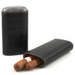 Andre Garcia Horn Collection Black Crocodile Embossed Leather Cigar Case with Buffalo Horn Accent