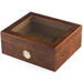 Burl Wood 50 Count Glass Top Cigar Humidor with Front Mount Hygrometer