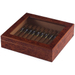 Dark Burl Window Top Travel Cigar Humidor + Humidifier 15-20 Ct
