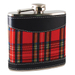 True Fabrications Red and Black Plaid Flask, 6 Ounce