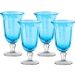 Artland Savannah Turquoise Bubble Glass Goblet, Set of 4