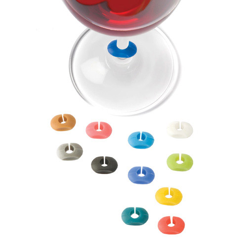 True Fabrications Multi-Colored Silicone Wine Glass Charms, Set of 12