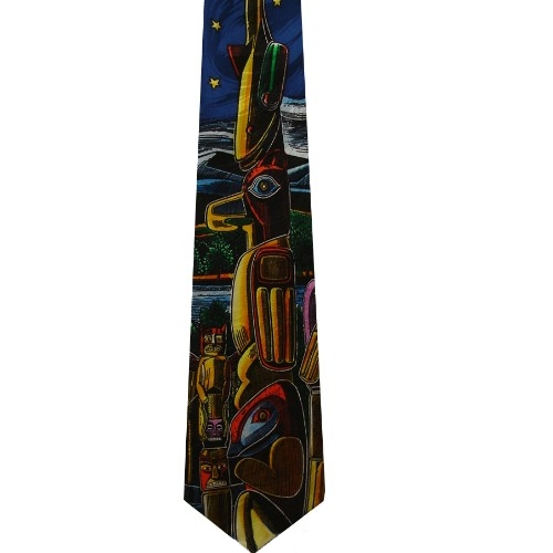 Ralph Marling Sierra Club Alaska Totem Pole Silk Neck Tie