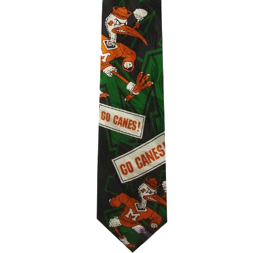 University Of Miami Football Licensed Silk Neck Tie
