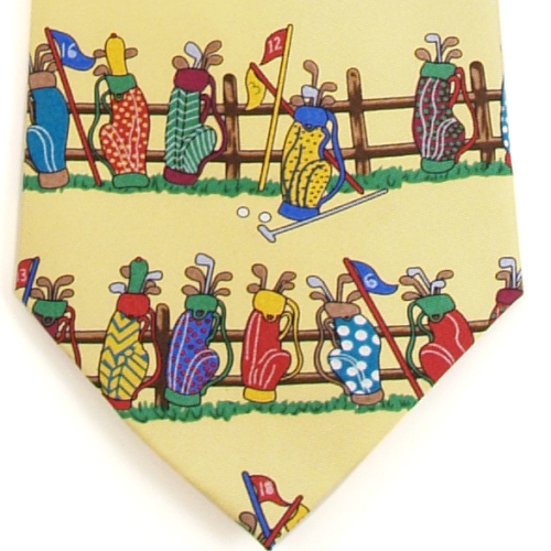 Alynn Tee Time Golf Bag Yellow Silk Tie Necktie