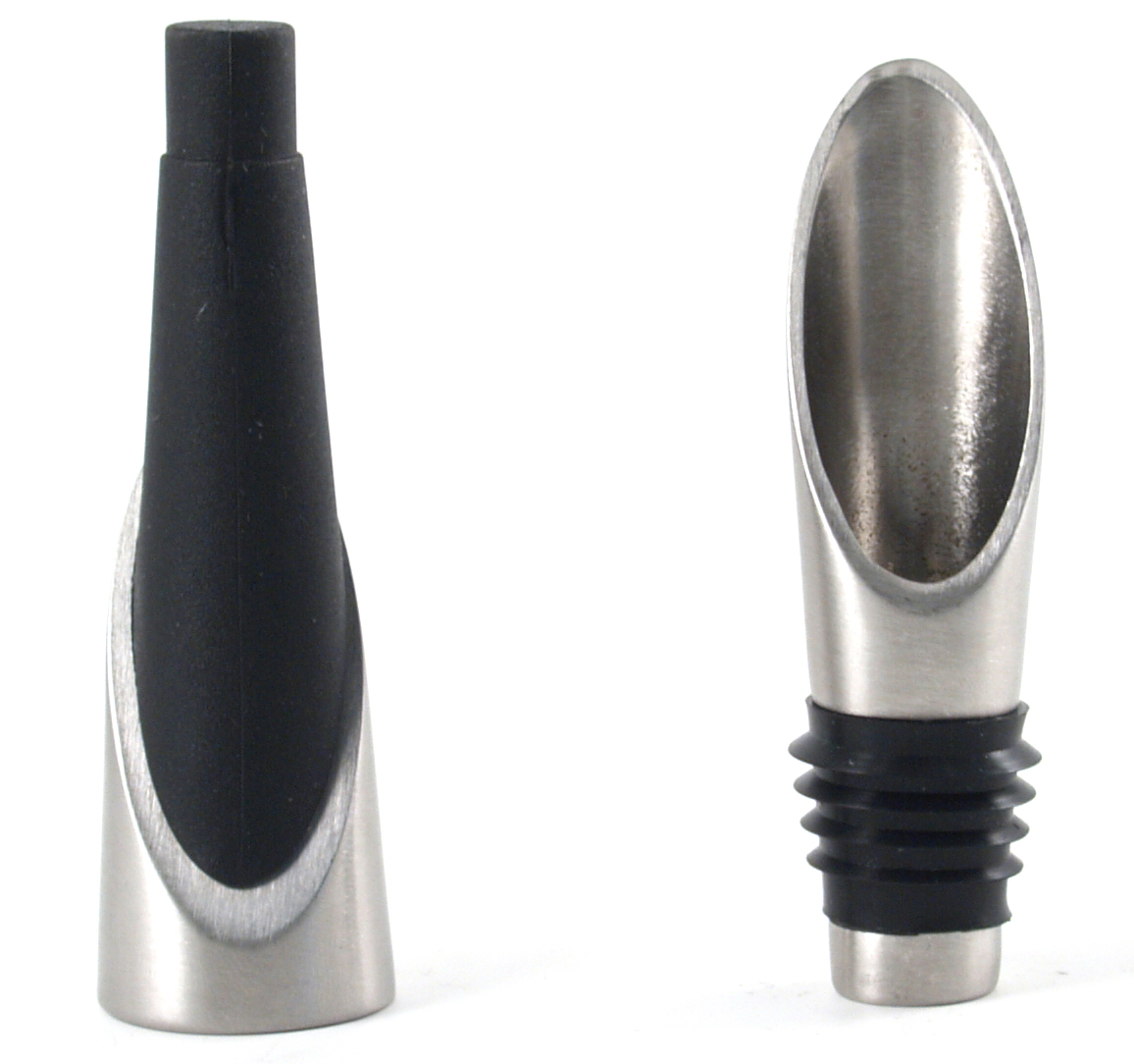 Brushed Stainless Steel Wine Bottle Pourer and Stopper