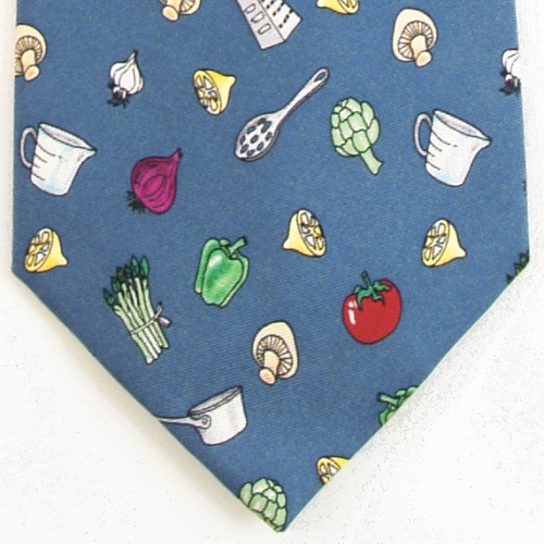 Alynn Culinary Themed Blue Silk Tie Necktie