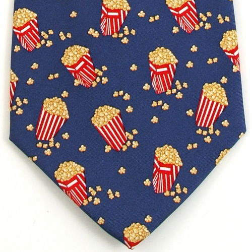 Alynn Movie Theater Popcorn Blue Silk Necktie Alynn Movie Theater Popcorn Blue Silk Necktie