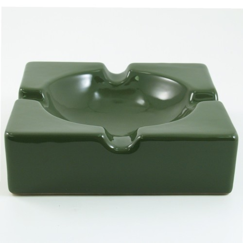 Oversized Hi-Gloss Green Ceramic Square Cigar Ashtray