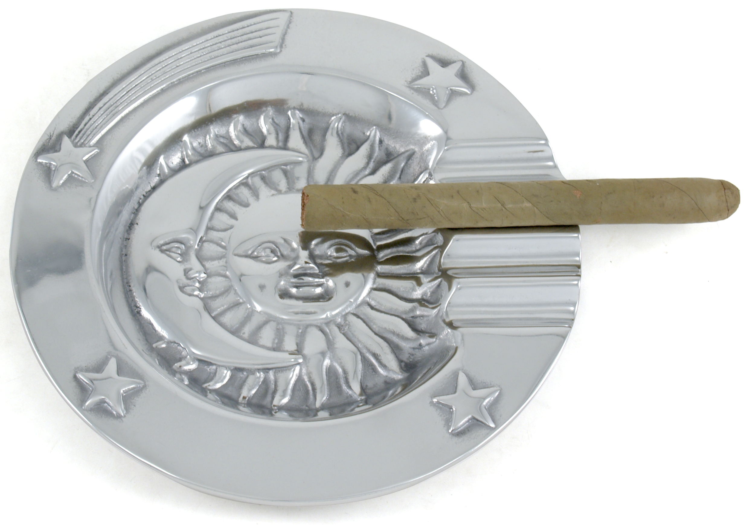 Pewter Celestial Stars Moon & Sun Cigar Ashtray