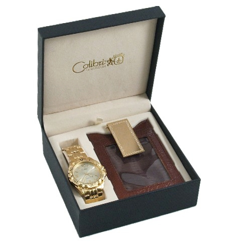 Colibri of London Gold Wrist Watch 3 Piece Set Clip Case