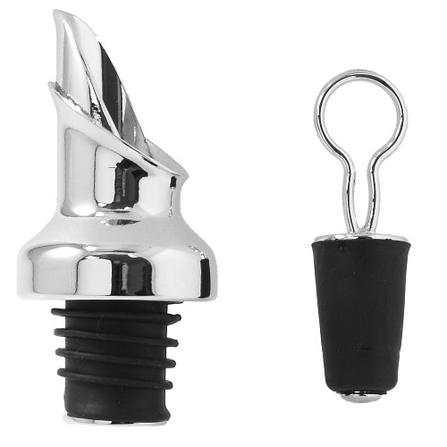 Prodyne Chrome Wine Bottle Pourer and Stopper Combination