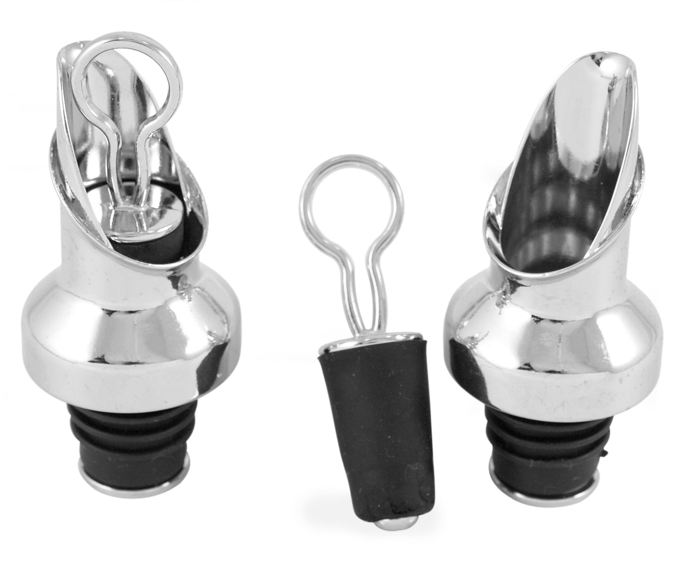 Prodyne Chrome Wine Bottle Pourer and Stopper Combination, Set of 2