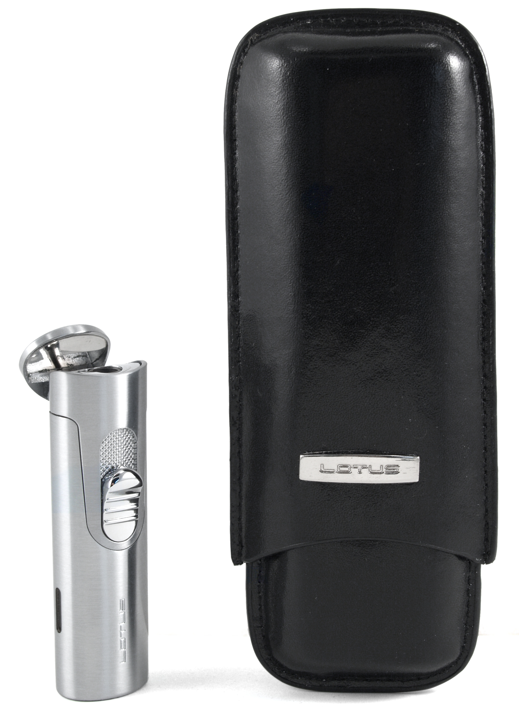 Lotus 50-Stick Humidor Gift Set Black Oak with L32 Lighter
