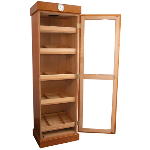Oak Cigar Humidor Tower with Shelves, Holds 3000 Cigars