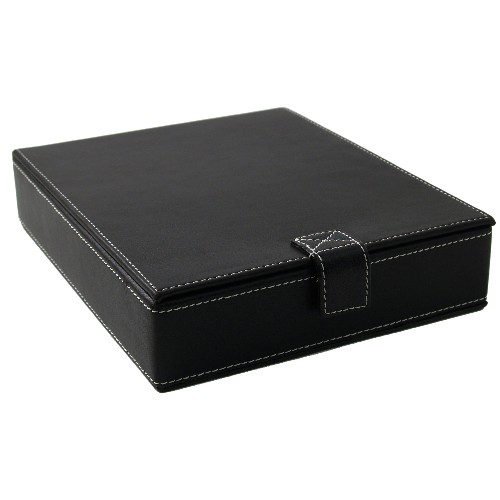 Black Leather Cigar Essentials Gift Set with Ashtray Cutter Case