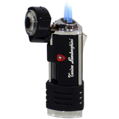 Lamborghini Double Torch Lighter Black and Stainless
