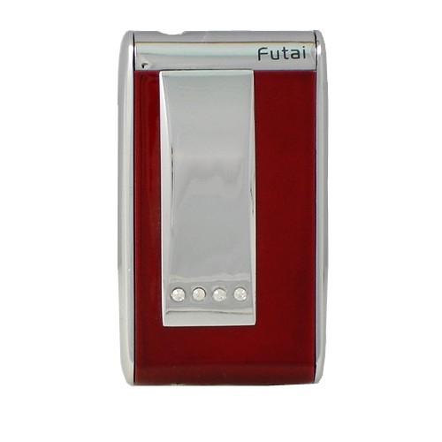 Jet Torch Lighter Red & Chrome Trim with Diamonds