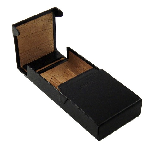 Credo Humidified Black Leather 3 Finger Cigar Case