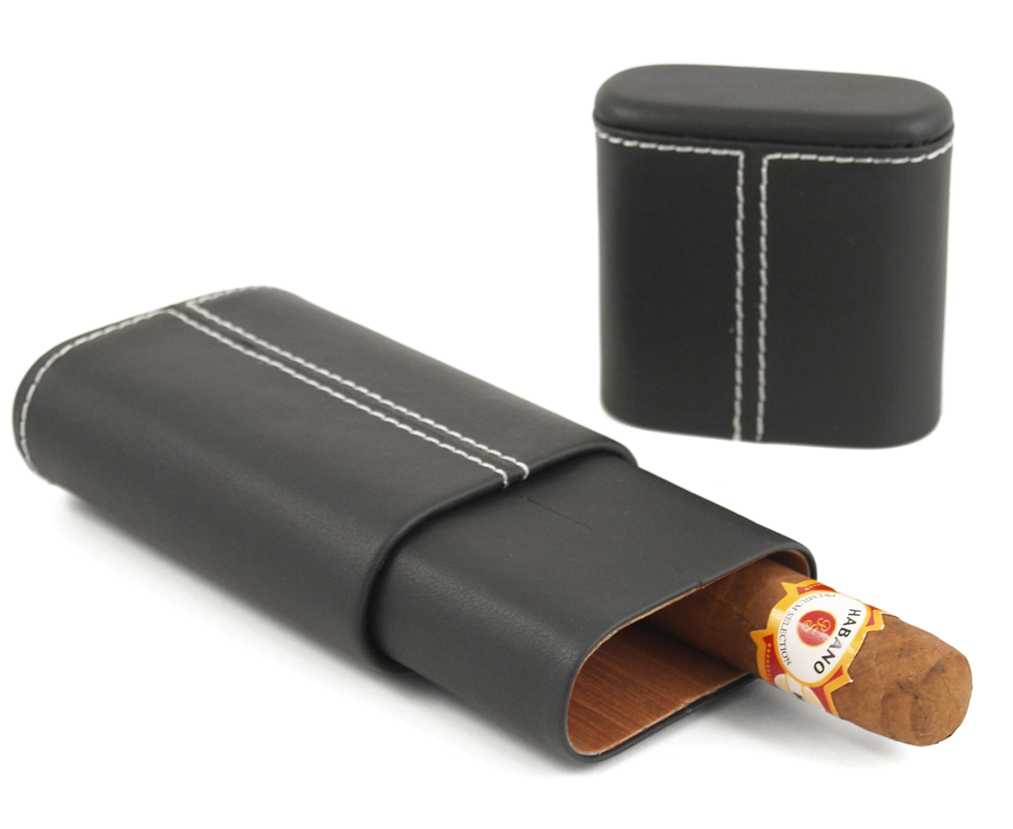 Black Leather 3 Finger Hard Cedar Lined Cigar Case