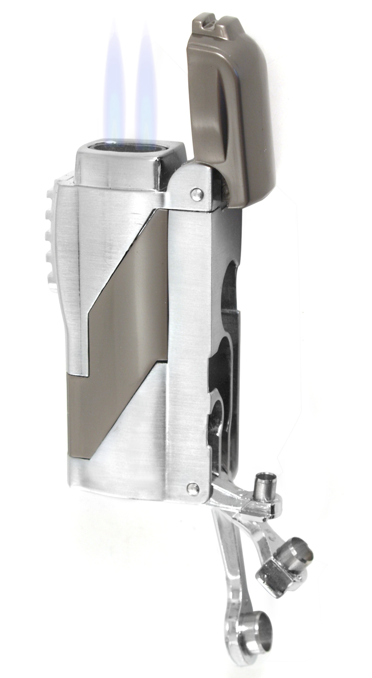 Gunmetal Double Torch Lighter with Cigar Punches